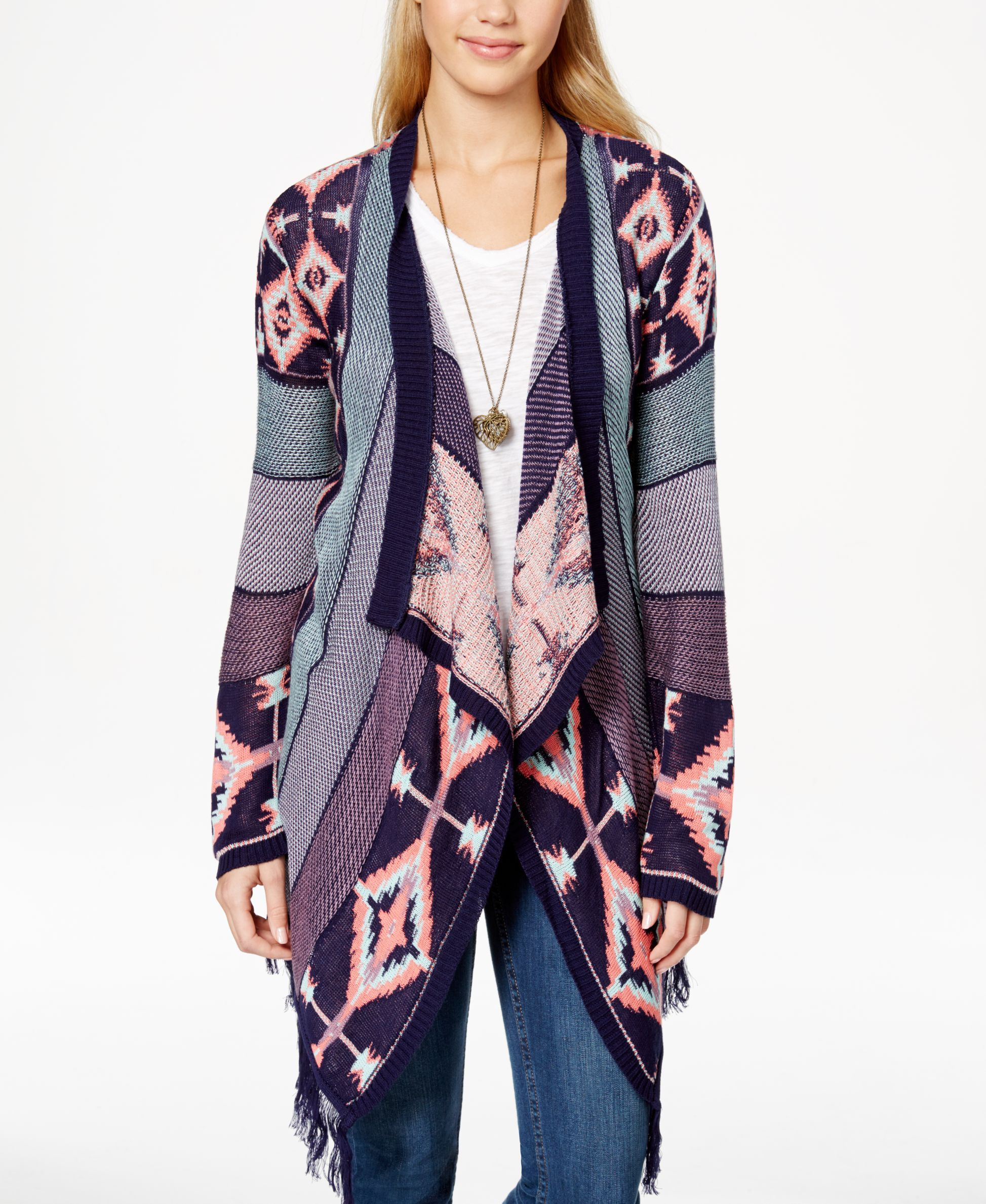 Say What? Juniors' Southwest-Pattern Fringed Waterfall Cardigan ...