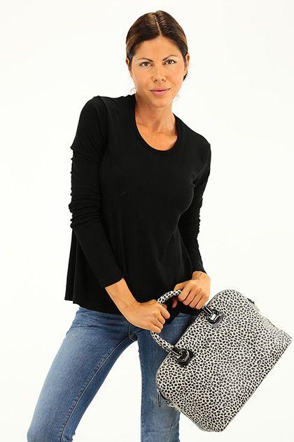 American Vintage - T-Shirts - Abbigliamento - T-shirt in cotone elasticizzato con girocollo e manica lunga. - NOIR - € 60.00
