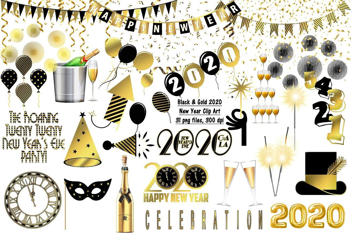 New Year 2020 Gold & Black ClipArt (With images) Gold