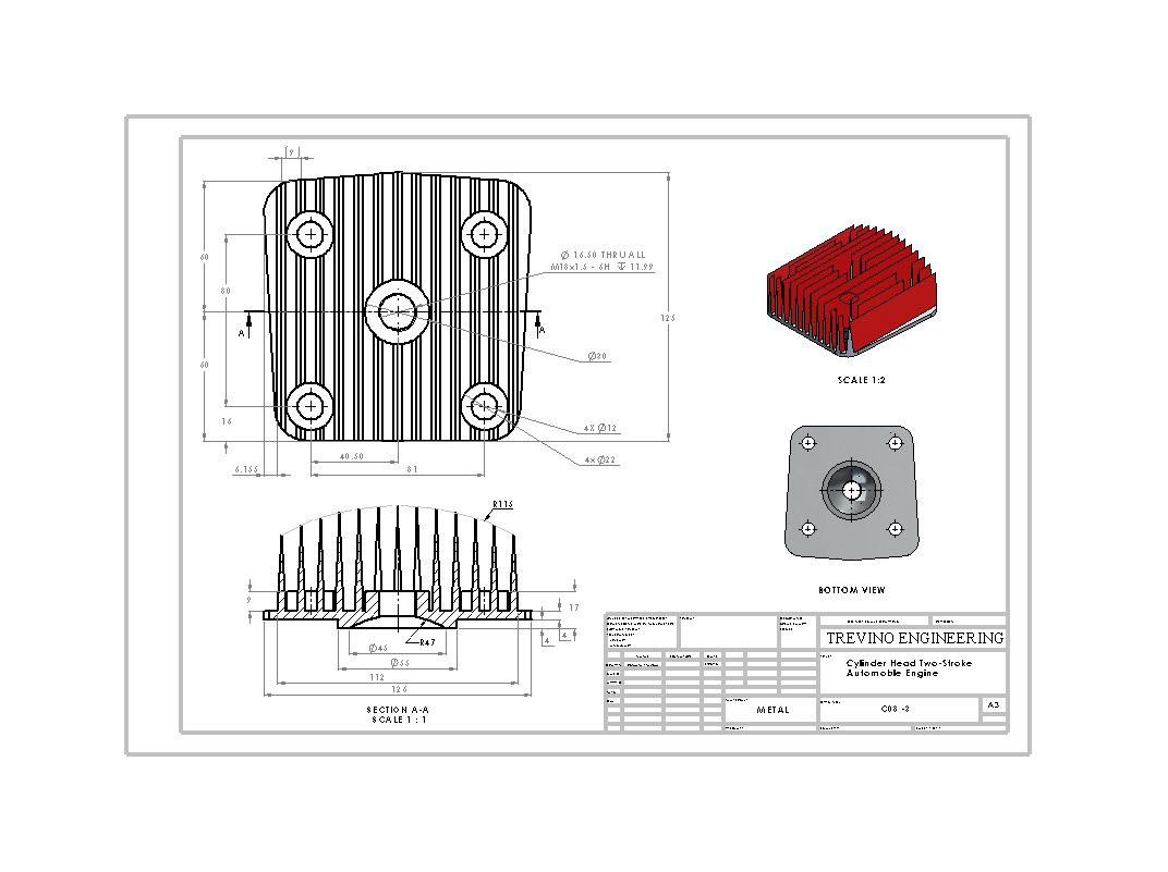 Cylinder Head Drawing Solidworks