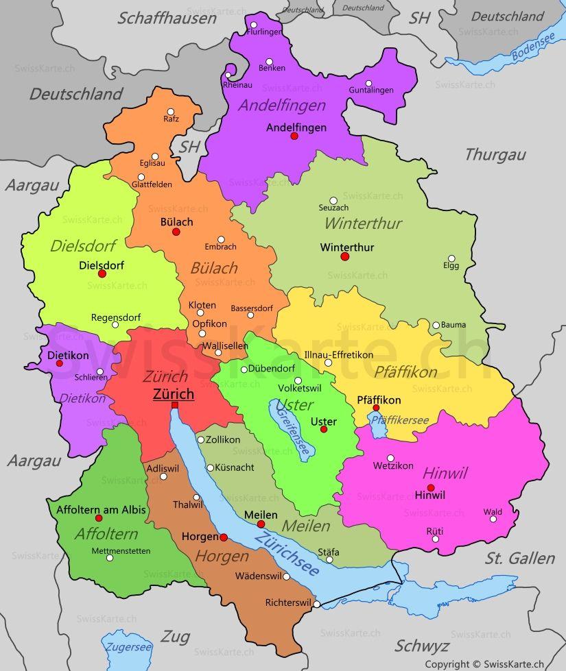 Karte Kanton Zrich map karte carte mappa Pinterest Zurich