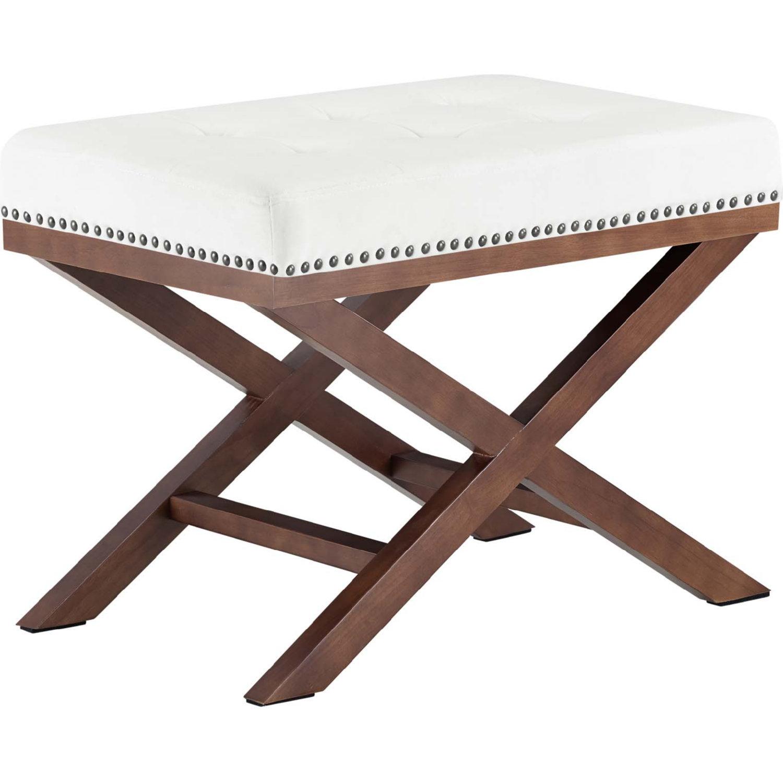 Awe Inspiring Modway Facet Bench Tufted Ivory Velvet Nailhead Wood X Base Creativecarmelina Interior Chair Design Creativecarmelinacom