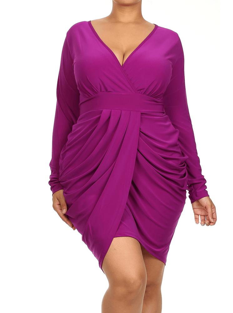 Plus Size Long Sleeve V Neck Bubble Purple Dress | Clothes ...