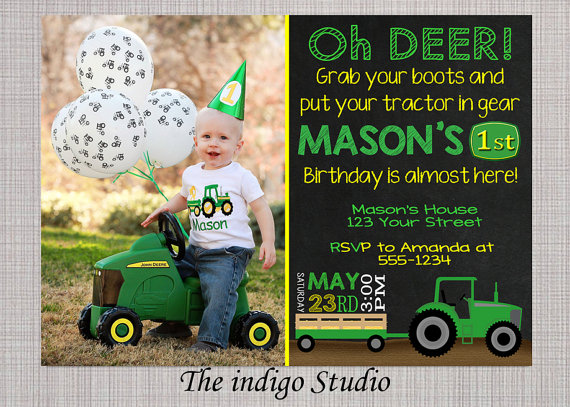 Tractor Birthday party Invitation with or without Photo YOU PRINT