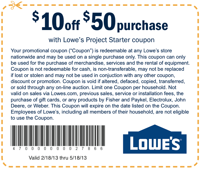 Coupon Lowes home improvements, Good to know
