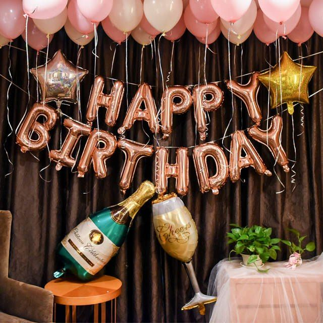 57Pcs/lot Alphabet Champagne Photography Letter Foil Balloon Backdrops Adult Birthday Party Set Pink Star Latex Globo Background