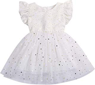 MAMOWEAAR Toddler Baby Girl Ruffle Sleeve Dress Polka Star Tulle Princess Party Dress #babygirlpartydresses