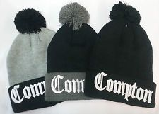 1ee13bb5d Pom Ball Compton Beanies Straight Outta Compton N.W.A Eazy-E 3D Embroidery