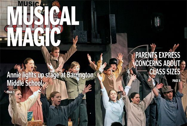 "And the cover of this week's Barrington Suburban Life newspaper goes to... Performers from last weekend's musical ""Annie"" at Prairie Middle School!  It's the final musical for the school's retiring choral director.  Here are some of the other stories you'll find inside this week's issue... http://wp.me/p1NGbX-Lgz"