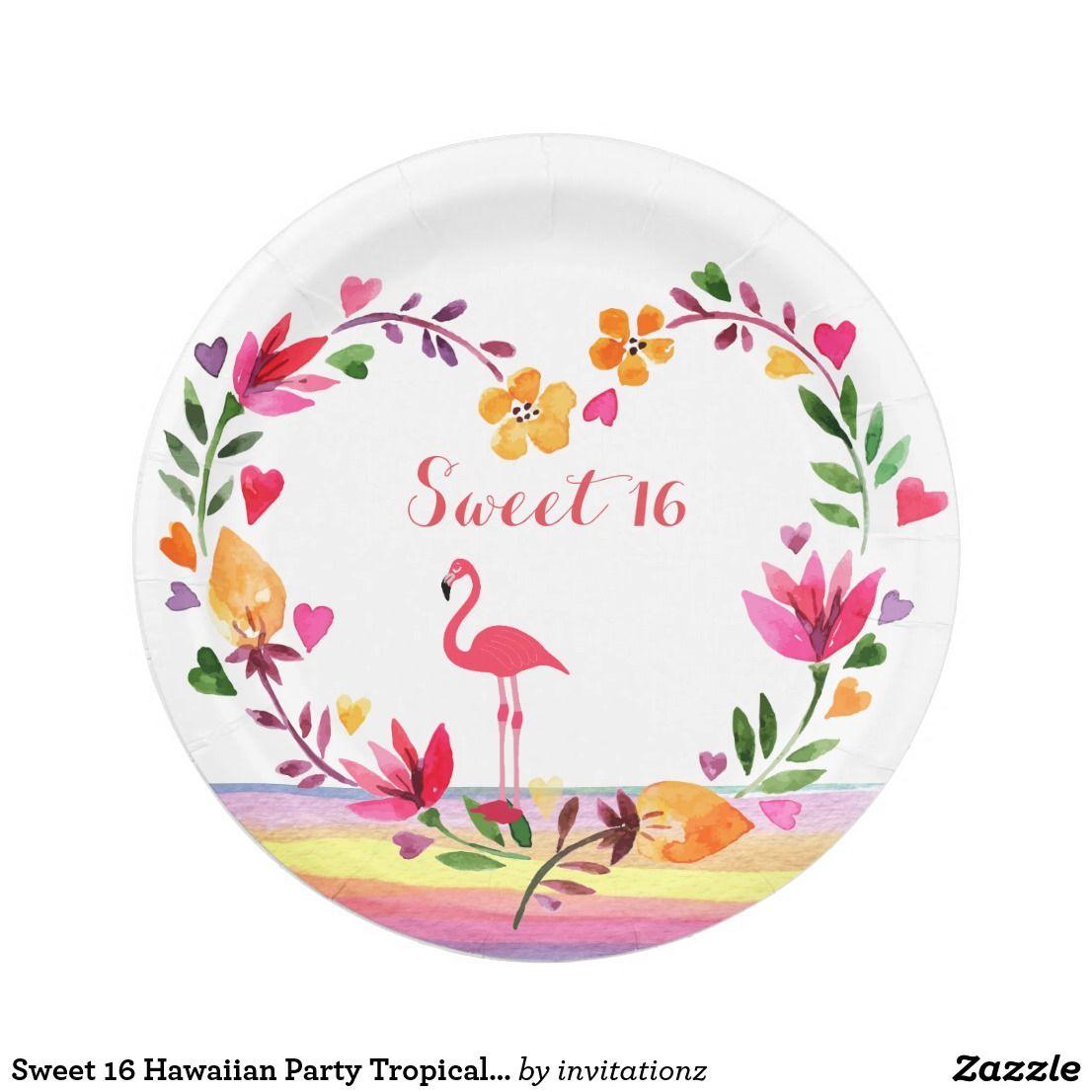 Sweet 16 Hawaiian Party Tropical Luau Flamingo tf8 Paper Plate  sc 1 st  Pinterest & Sweet 16 Hawaiian Party Tropical Luau Flamingo tf8 Paper Plate ...