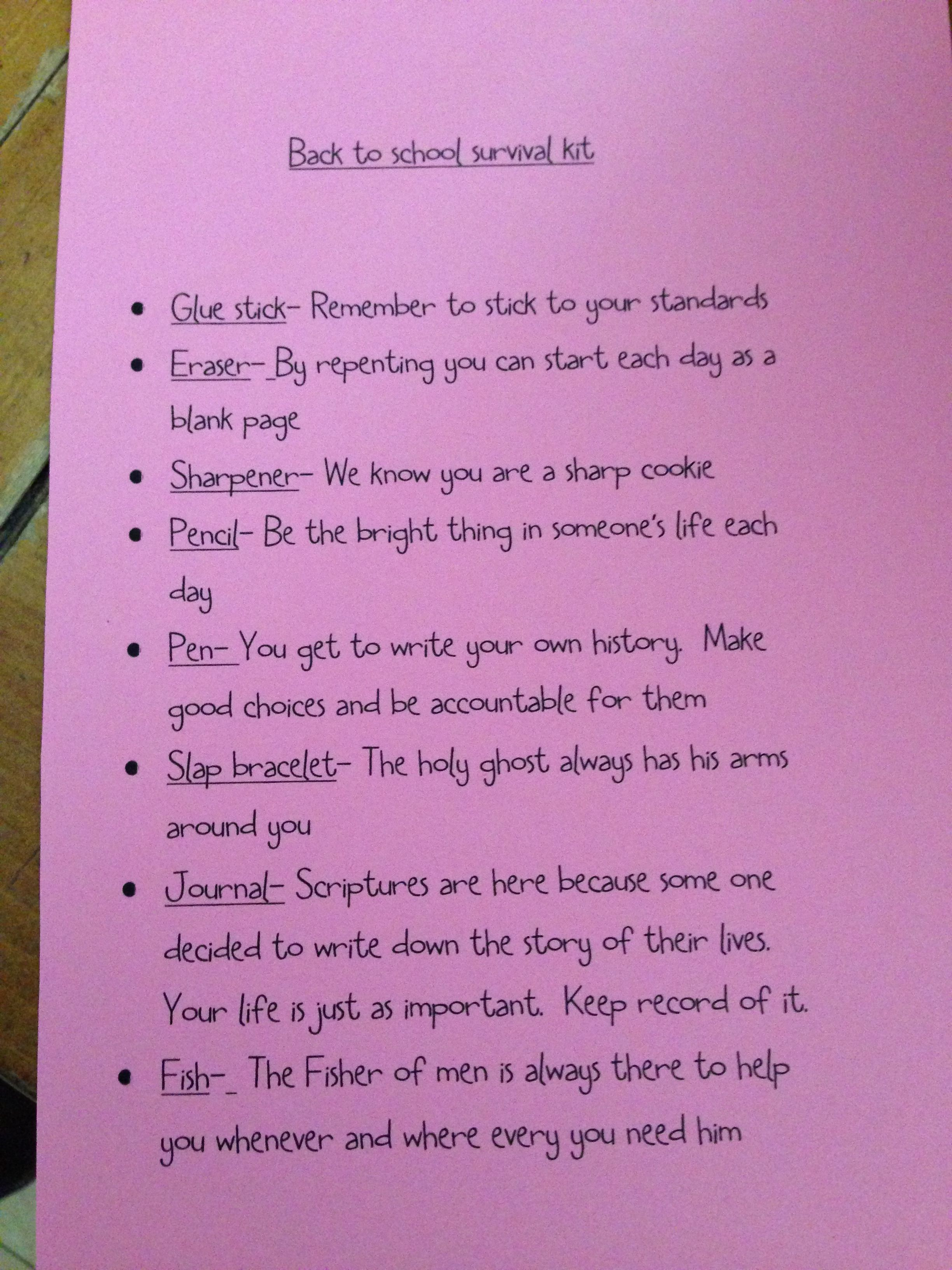Back to school spiritual survival kit. Would be awesome ...