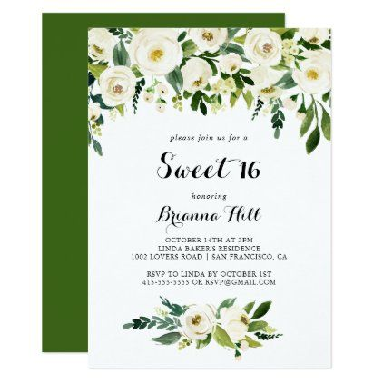 Greenery White Floral Sweet 16 Birthday Party Invitation | Zazzle.com