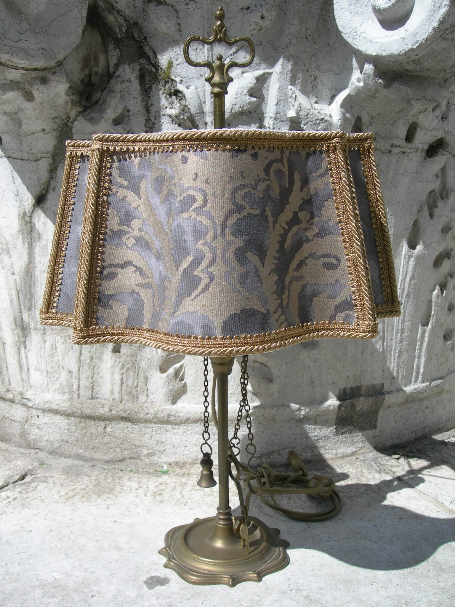 Vintage Italian Florentine Brass Table Lamp With Handmade