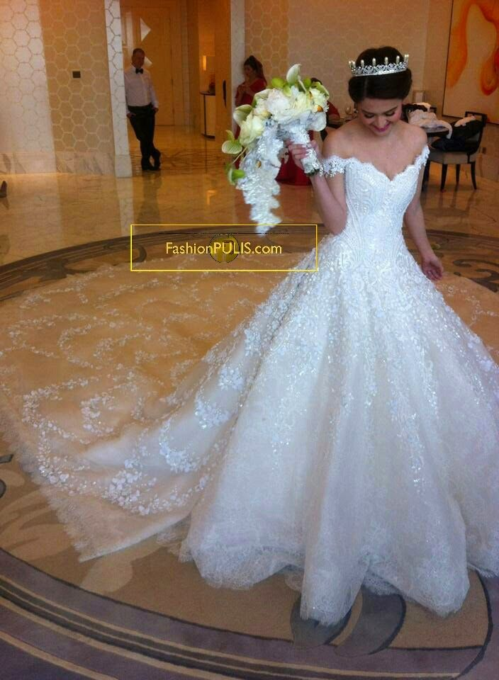 Lovely Luxury Bead Off Shoulder Cathedral Train White Lace Bride Wedding Dress Size