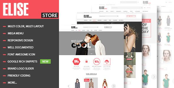 Elise - Advanced Fashion HTML Template + Blog . Elise has features such as High Resolution: Yes, Compatible Browsers: IE9, IE10, IE11, Firefox, Safari, Opera, Chrome, Compatible With: Bootstrap 3.x, Columns: 4+