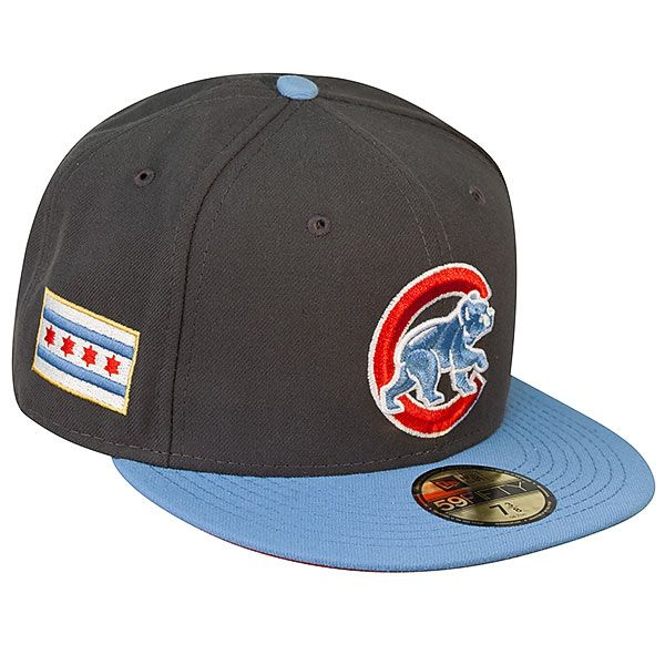 a1942ed167e Chicago Cubs Fitted Graphite  amp  Sky Blue 59Fifty Hat with Crawl Bear   amp  Chicago