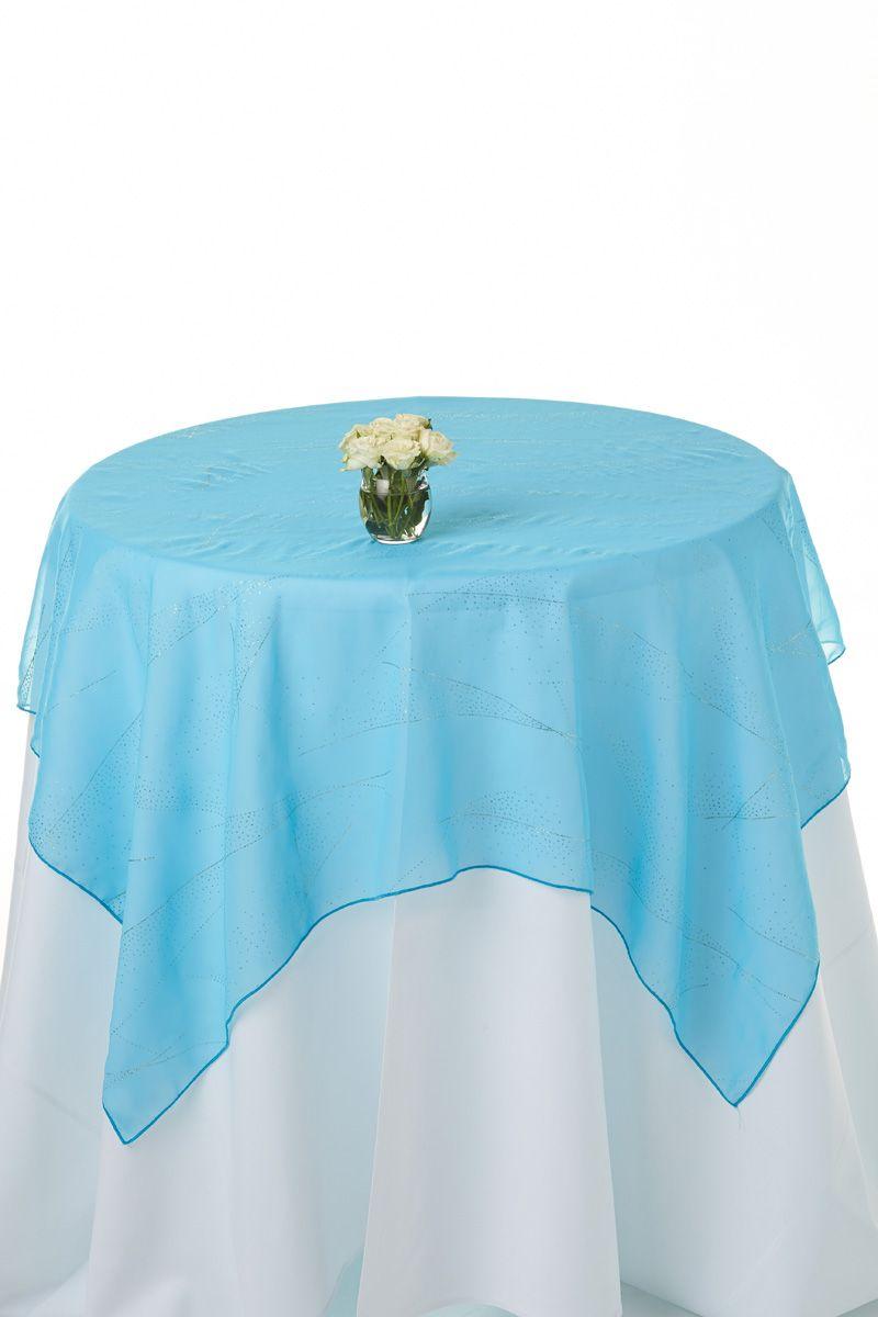 Aqua Blue Chiffon Table Runner With Shimmer Blue Table Runner