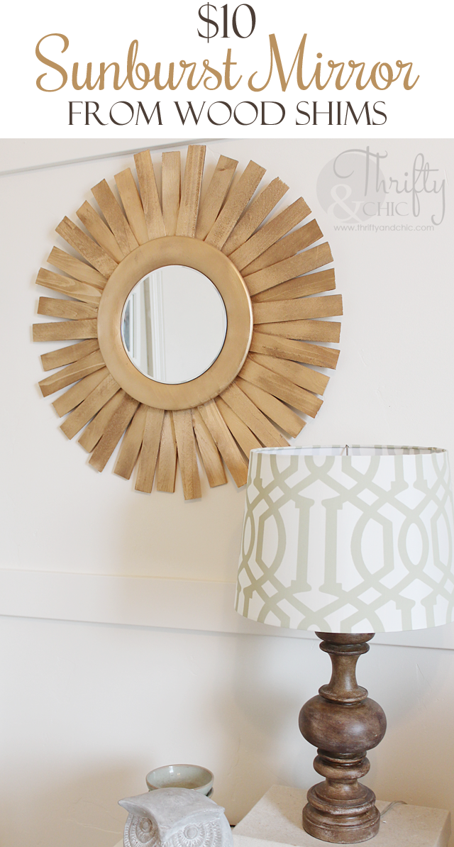 Diy sunburst mirror for 10 made out of wood shims from for Wooden mirror frames for crafts