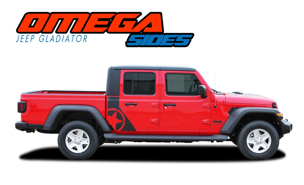 Omega Sides 2020 Jeep Gladiator Side Body Star Vinyl Graphics Decal Stripe Kit Jeep Gladiator Stripe Kit Vinyl Graphics