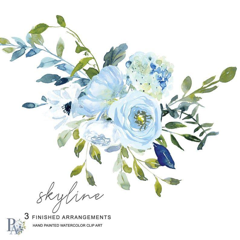 Light Blue Turquoise Floral Clipart Watercolor Hydrangea Clipart