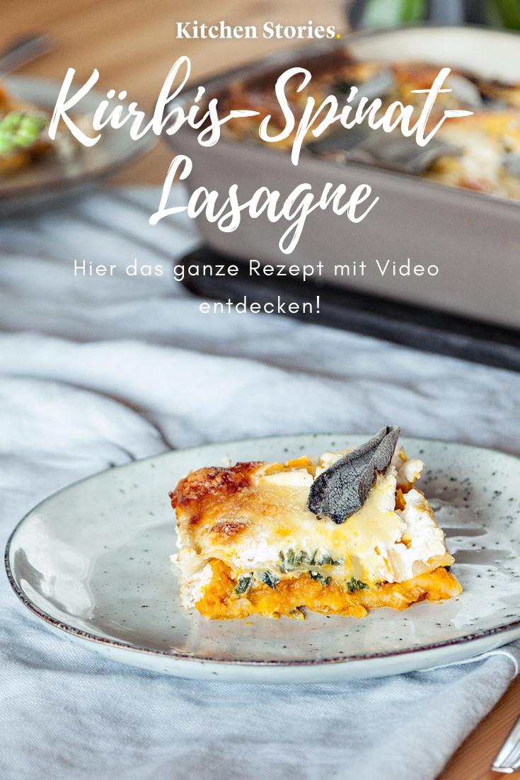 Kürbis-Spinat-Lasagne #spinatlasagne Diese vegetarische #Kürbis-Spinat-#Lasagne mit Ricotta-Ziegenkäse-Creme ist eine tolle Abwechslung zur altbekannten Lasagne und überzeugt auch den größten Fleischliebhaber! #vegetarisch #Rezepte #spinatlasagne