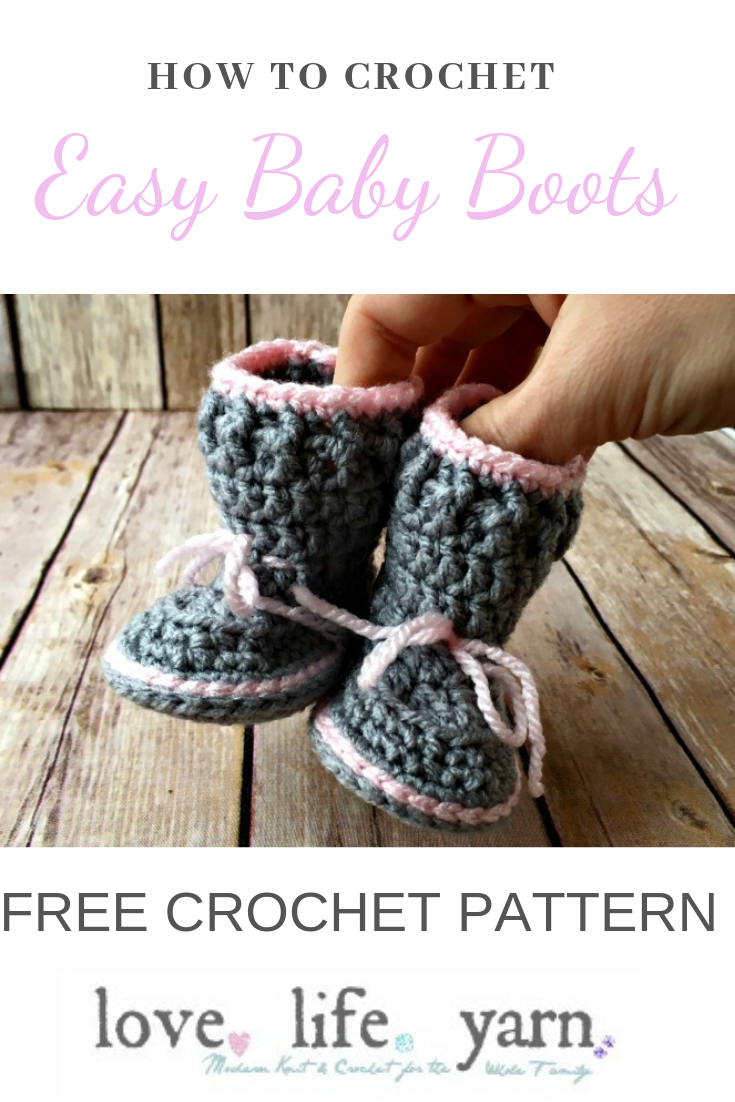 Crochet these easy baby boots using this free crochet pattern for the Spring Baby Boots.  #freecrochetpattern #crochetforbaby #crochetbabyboots
