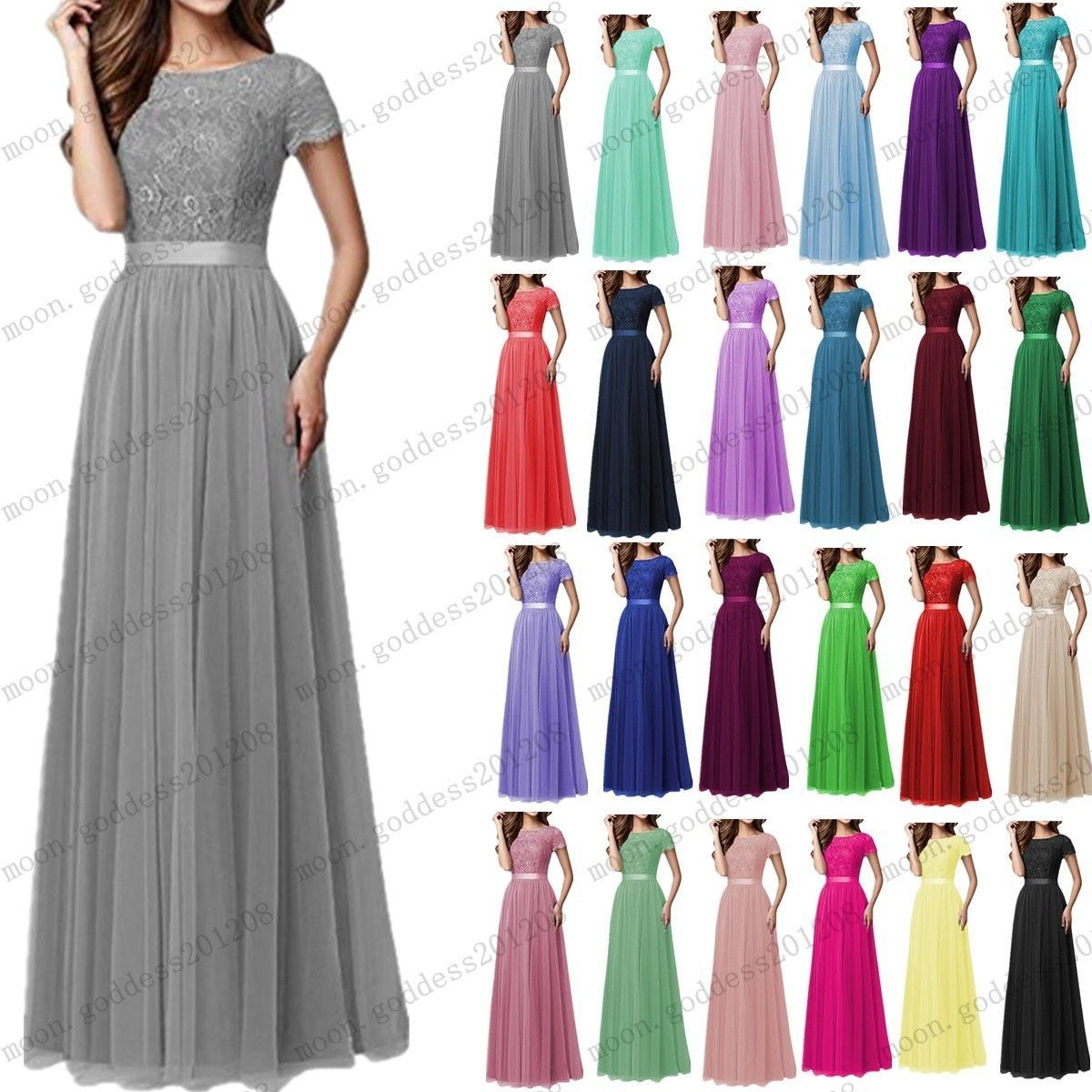 Cool amazing long chiffon lace evening formal party ball gown prom