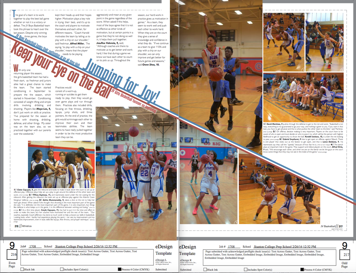 JV Girls and Boys Basketball Page. #yearbook #layout #design ...