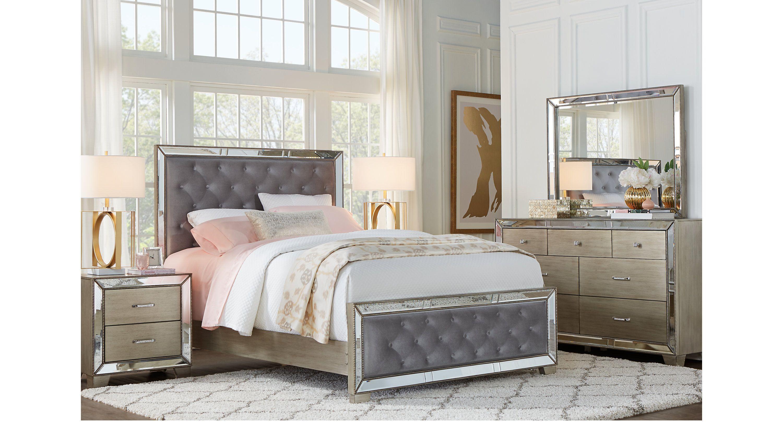 Montebello Silver 5 Pc Queen Upholstered Bedroom - Queen ...