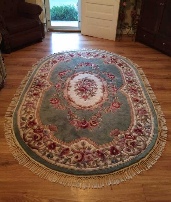19th Century French Country Oval Rug Royal Palace Damask Oval Rugs Rugs Damask