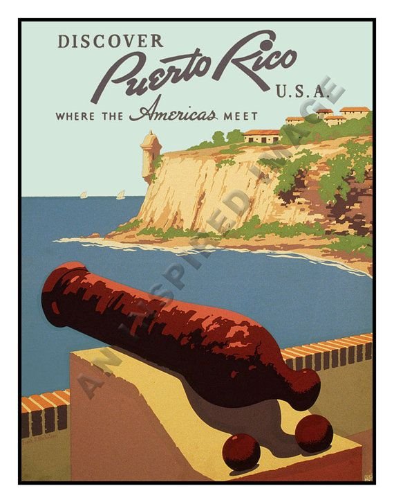 Vintage Puerto Rico Travel Art Print Poster by AnInspiredImage