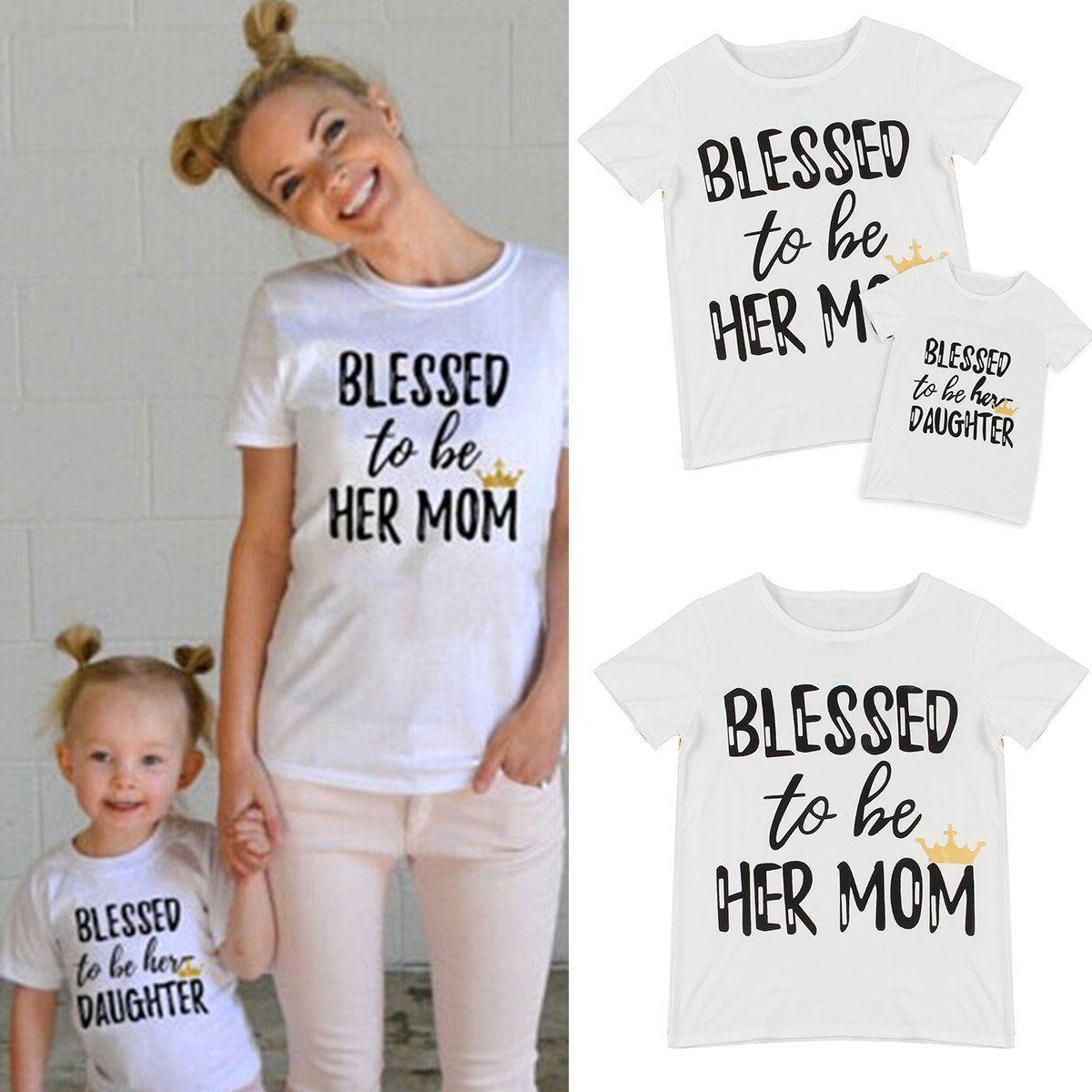 edda801c55 Family T-Shirt Mother Daughter Short Sleeve Summer Cotton Tee Shirt Top  Clothing