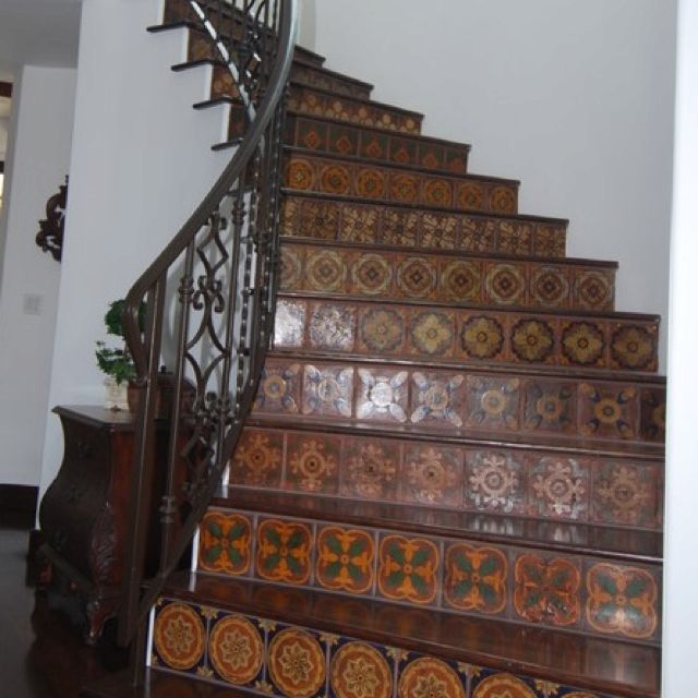 Decorated tile stair risers | Tile stairs, Mexican tile ...