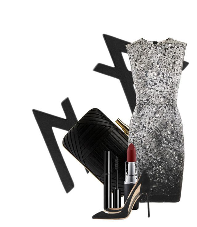 """""""Silver Bells"""" by madeleinehettich ❤ liked on Polyvore featuring Elie Saab, Lanvin, MAC Cosmetics, Chanel and Gianvito Rossi"""