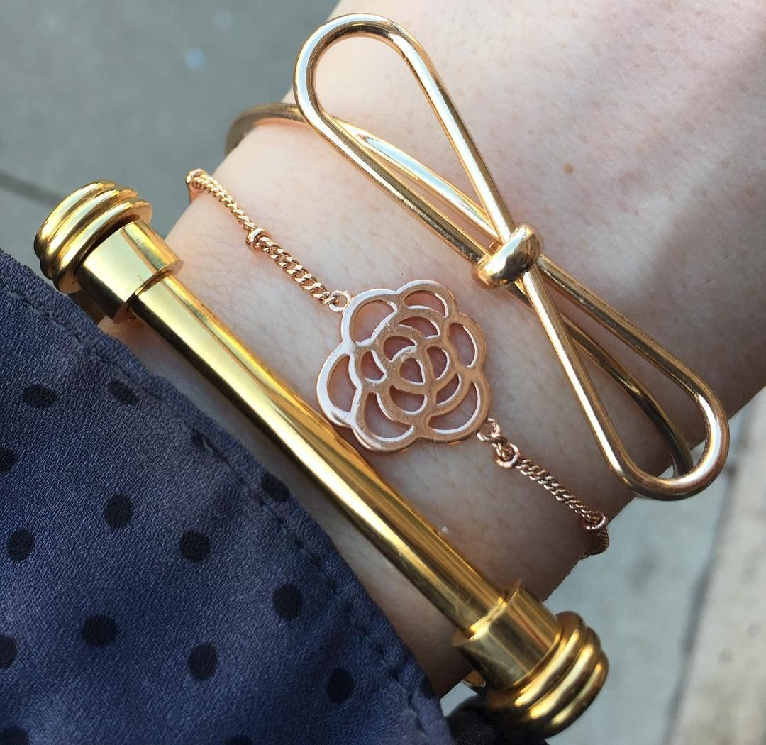 Shades of Gold  (wearing The Twist Cuff The Delicate Rose Bracelet & The Bow Knot Bangle) #braceletsoftheday