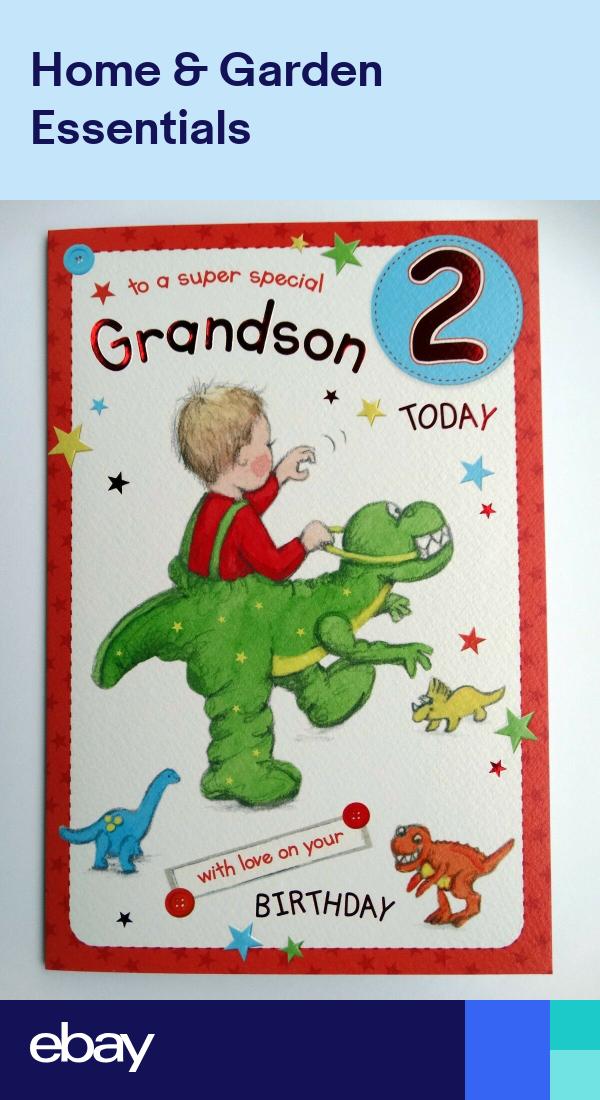 Special Grandson 2 2nd Boy Presents Design Happy Birthday Card Lovely Verse Happy Birthday Grandson Happy Birthday Boy Grandson Birthday Cards