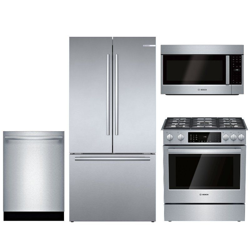 Bosch 4 Piece Dual Fuel Kitchen Appliance Package With Counter