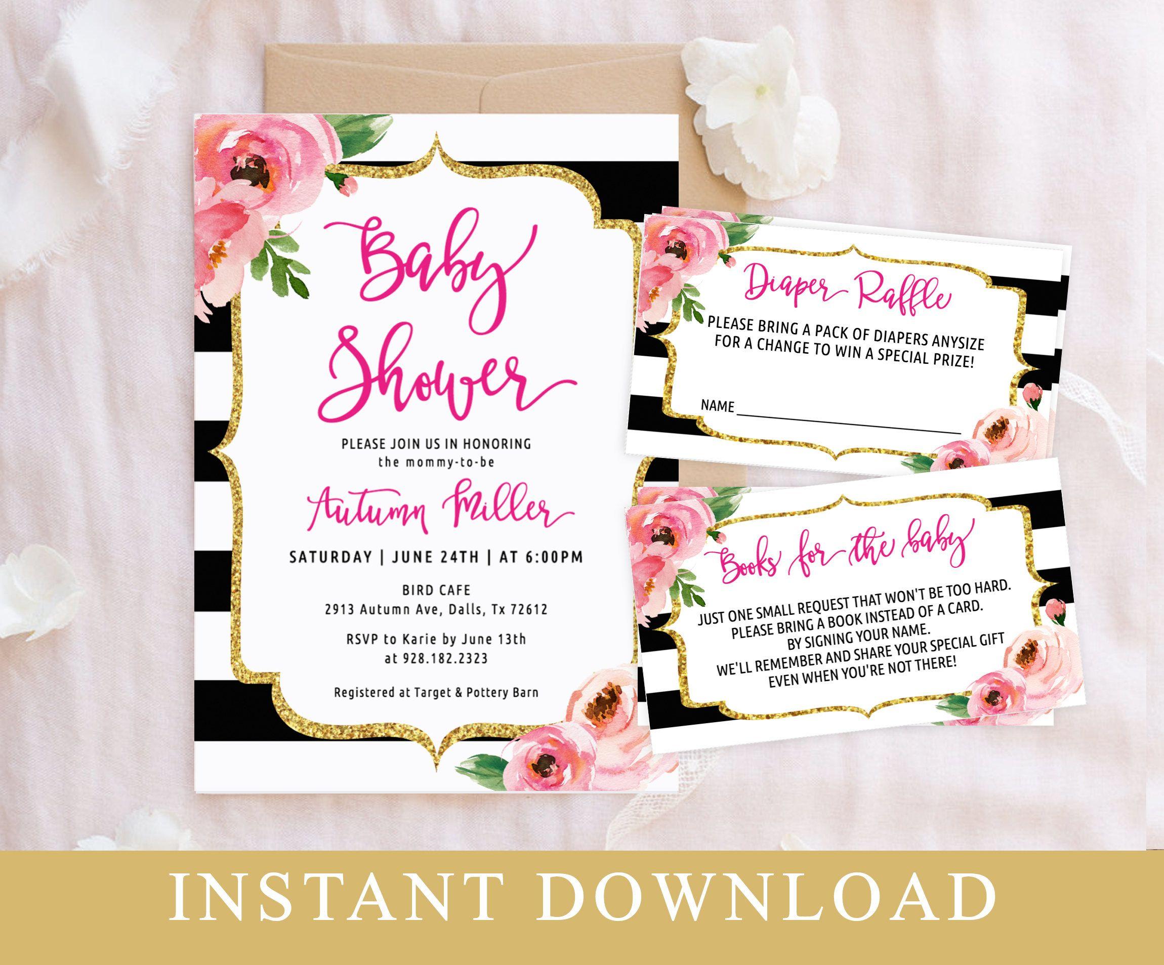 Floral Baby Shower Invitation Editable Template Set, Black Striped ...