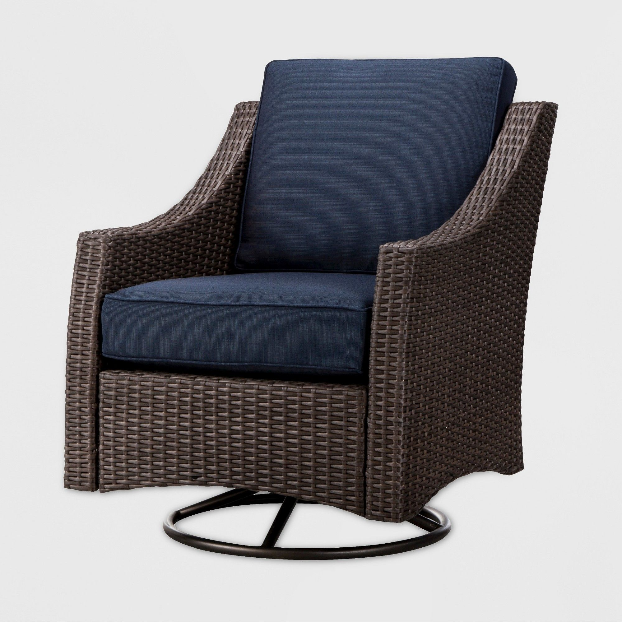 Wondrous Belvedere Wicker Swivel Rocker Patio Club Chair Navy Onthecornerstone Fun Painted Chair Ideas Images Onthecornerstoneorg