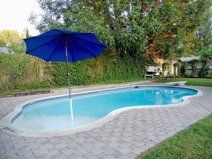 Small Inground Pools | pool with diving board. The beach entry is ...
