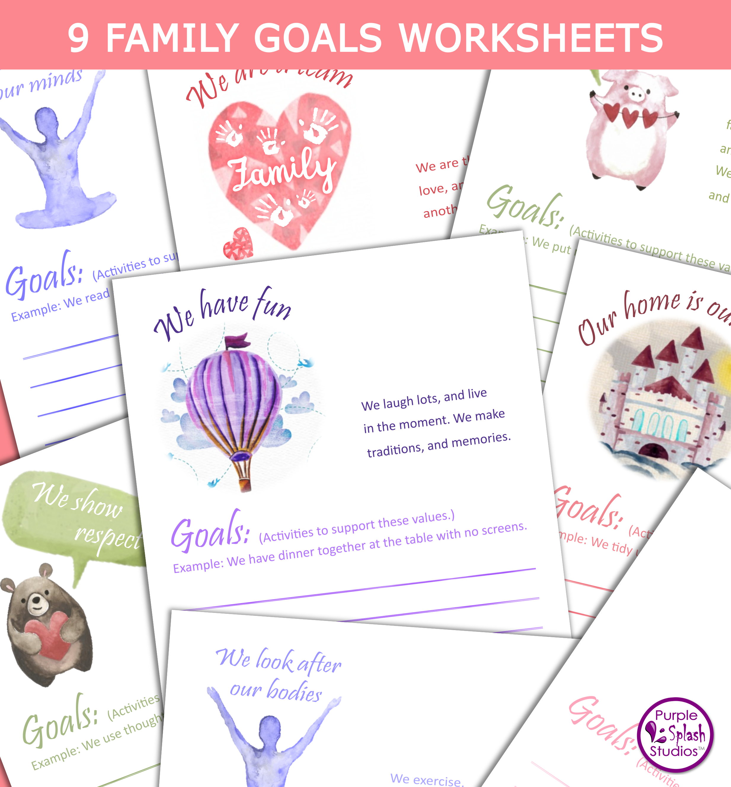 Family Value And Goal Setting Worksheet These Printables