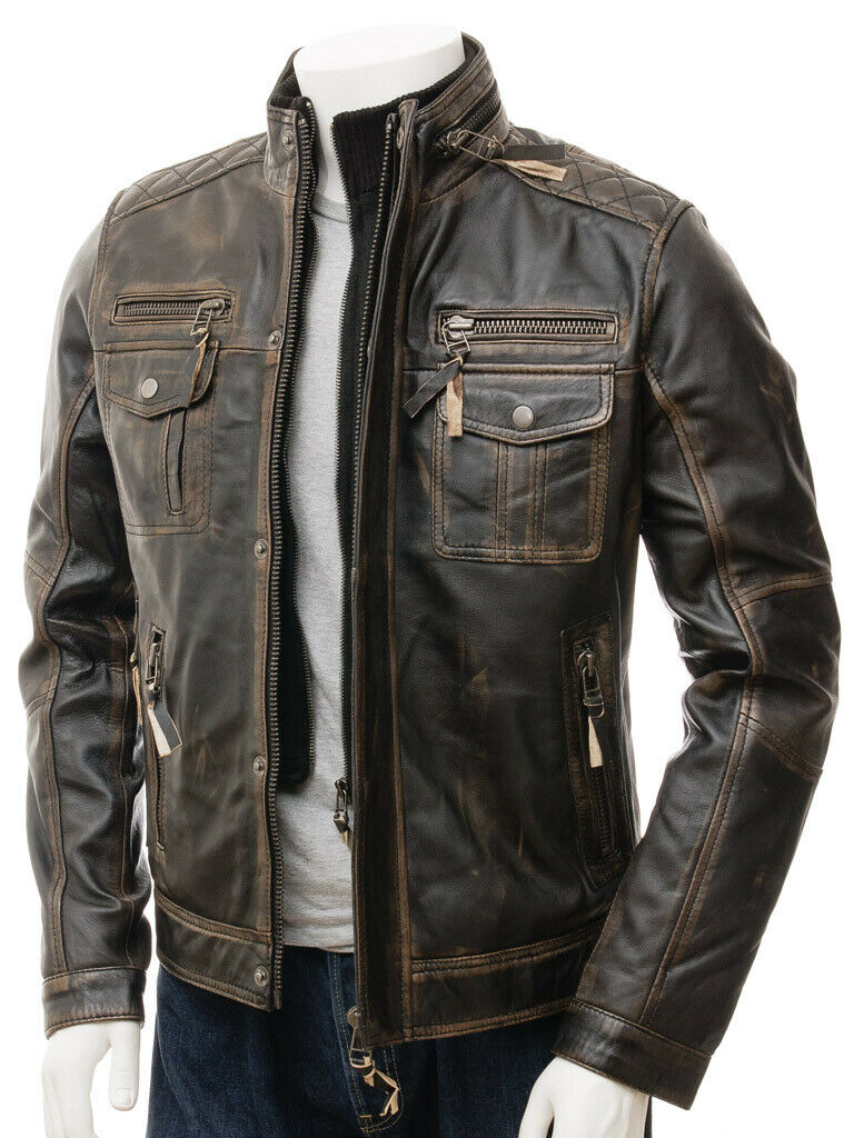 Details about MENS VINTAGE CAFE RACER BLACK BROWN