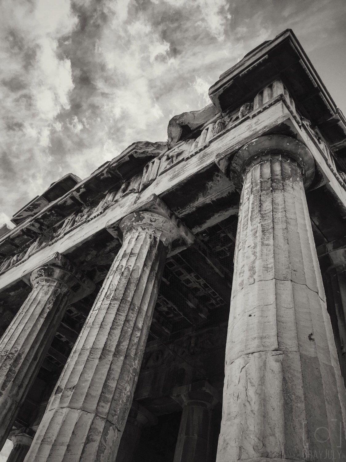 Athens greece ruins pillars acropolis black and white photo