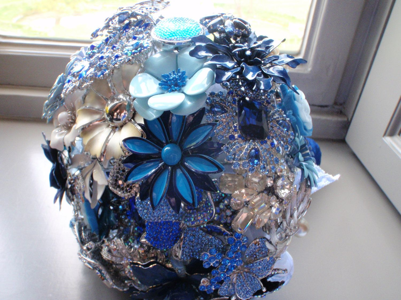 Bridal Brooch BouquetCobalt/Royal Blue & Silver. 600.00