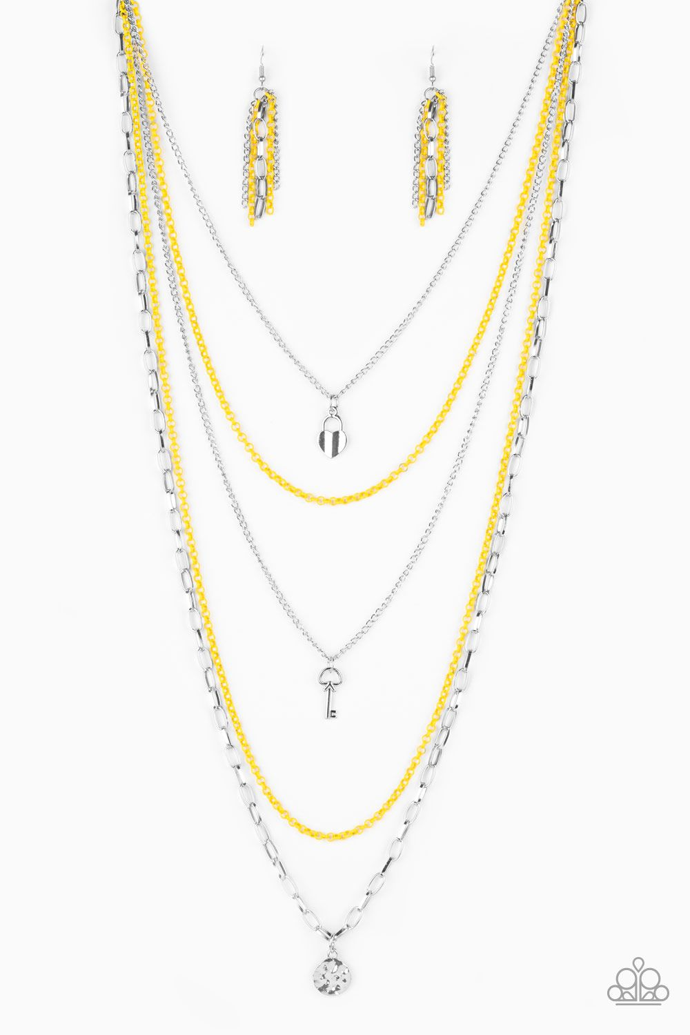 Right On Key Yellow Yellow Necklace Necklace Earrings