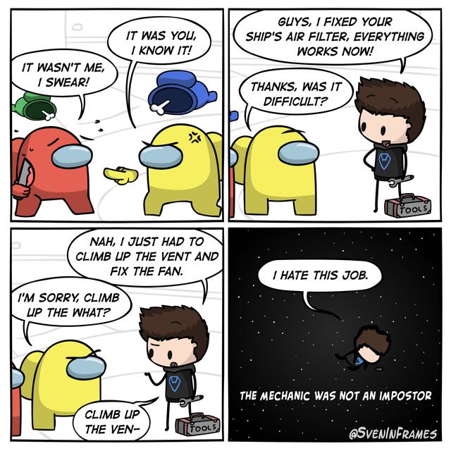 The Mechanic Among Us Amongus Real Funny Jokes Really Funny Memes Crazy Funny Memes