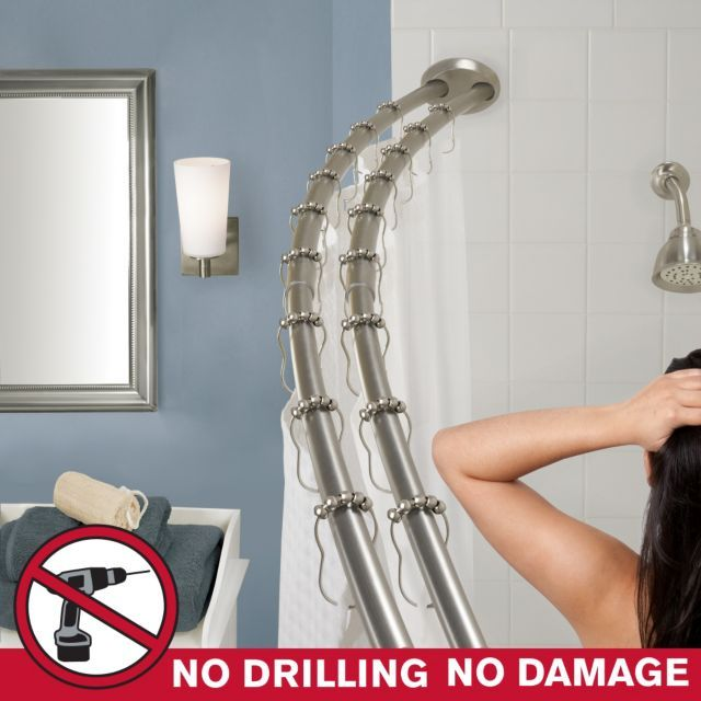 Double Shower Rod No Drilling Required Shower Rod Double Shower