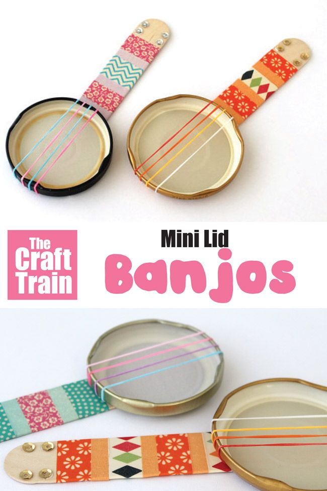 Mini Lid Banjo Craft Idea For Kids. Use Steam - Kids Crafts