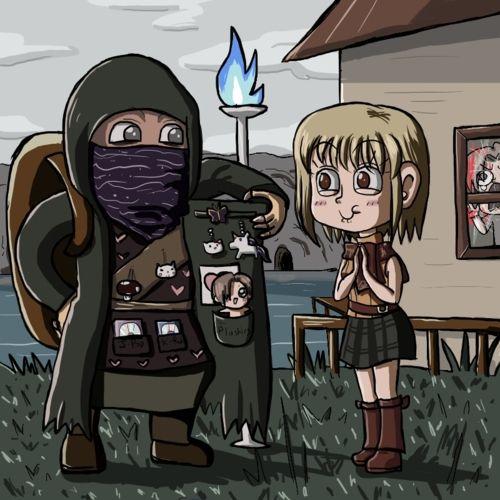Ashley And The Merchant Rip Leon Tho Resident Evil 4 Fanart