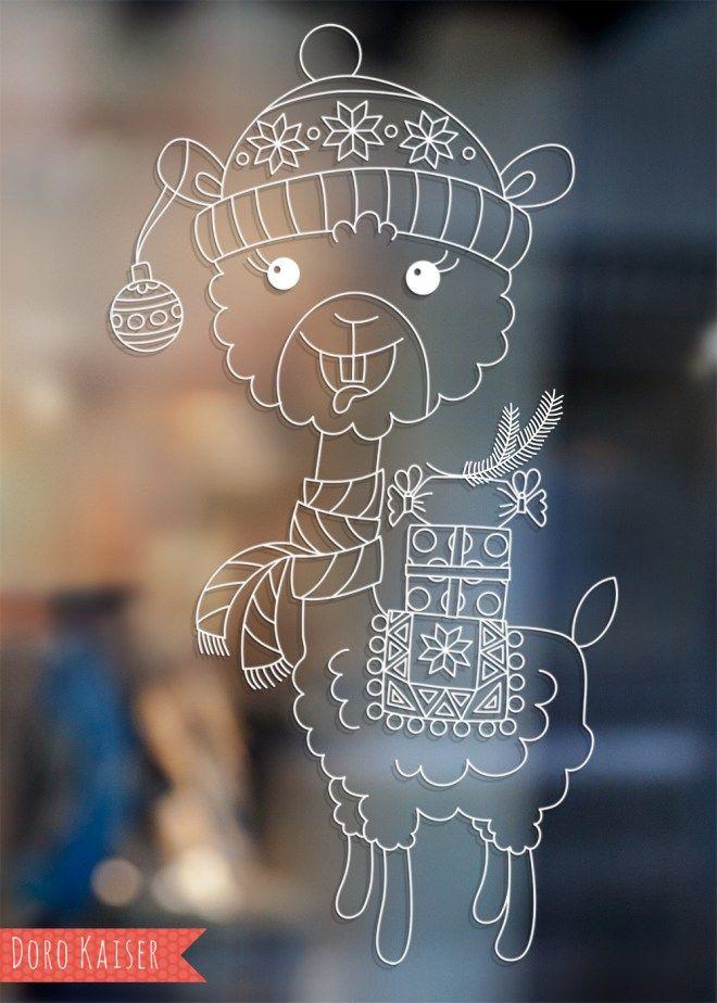 Vorlage Fur Ein Lama Fensterbild Fensterdeko Mit Kreidemarker Www Dorokaiser Online De Fensterbilder Fensterbilder Weihnachten Weihnachtsvorlagen